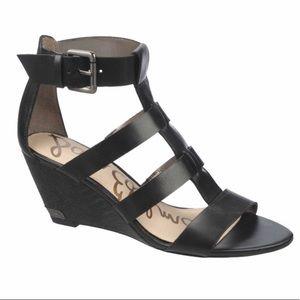 SAM EDELMAN Sabrina Demi-Wedge Sandal Black 7.5